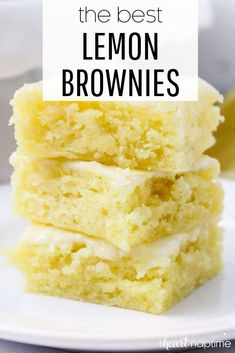 Lemon brownies AKA lemon blondies are super soft and moist bars topped with the most delicious lemon glaze. The perfect refreshing dessert that you'll be making over and over again! Lemon Dessert Recipes, Köstliche Desserts, Lemon Recipes, Summer Desserts, Sweet Recipes, Baking Recipes, Easy Lemon Desserts, Easy Delicious Desserts, Brownie Desserts