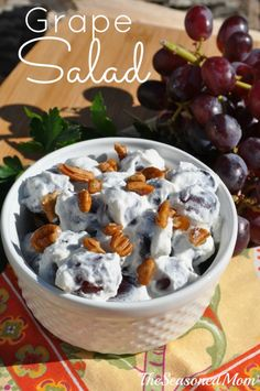 Grape Salad - sweet, creamy, cool, and ready in 5 minutes!  Perfect for a picnic or summer potluck!