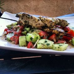 PERFECT HEALTHY SUMMER MEAL: Grilled Organic Chicken Satay with Lemon & Mediterranean spices over fresh tossed cucumber salad