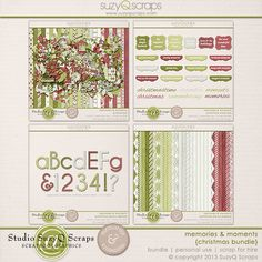 Scrapbook your holiday moments with this collection, filled with a variety of patterns and embellishments in beautiful Christmas colors. Great for daily December projects too! $13.85 view example layouts and buy this here: http://shop.scrapbookgraphics.com/Memories-Moments-Christmas-Bundle-Digital-Scrapbook.html