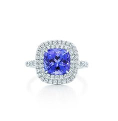 Tiffany Soleste cushion-cut tanzanite ring in platinum, with a double row of round brilliant diamonds (£7,125).