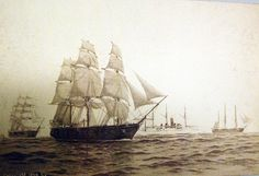 Navy ships from left to right: the sloop of wars USS Portsmouth and USS Constellation, the gunboat USS Bancroft, and the sloop of war USS Saratoga. Reproduction of artwork by Fred S. Cozzens, Courtesy of the Library of Congress. Sloop Of War, Library Of Congress, Congress 2016, Go Navy, Naval History, Nautical Art, Navy Ships, Portsmouth, Battleship