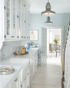 1000 images about pale blue kitchen walls on pinterest for Light blue kitchen white cabinets