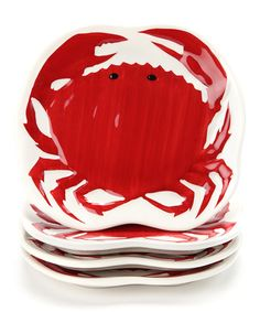Take a look at this Design Imports Crab Plate - Set of Four by Design Imports on #zulily today!