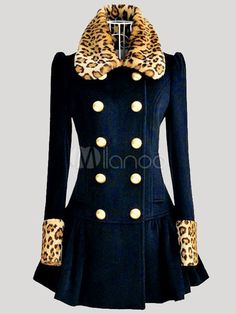 Dark Navy Turndown Collar Long Sleeves Buttons Leopard Print Outerwear for Woman - Milanoo.com OMG! So Cute I gotta have it!