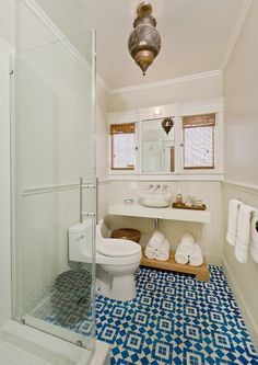 Great bathroom with blue tile and Moroccan touches...well done...and it's a West Hollywood rental on VRBO