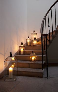 Wedding Ideas: lanterns-lining-curve-stairs