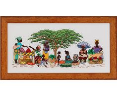 They have made it to the market and all the hustle and bustle of the market ensues. 18cm x 42cm (actual stitched area) This pattern is supplied in a PDF format