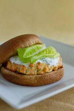 Salmon Burgers with Yogurt-Dill Sauce