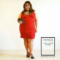 Red is such a strong color --- perfect for the power-loving Erzulliestas, right? Downplay the strength of the red with some black and bo. Ootd, Plus Size Girls, Philippines, Plus Size Fashion, High Neck Dress, Sweaters, Outfits, Black, Color