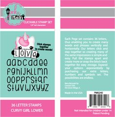36-Piece Pink and Main Pegz Curvy Girl Font Stamps Upper