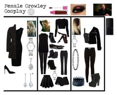 """""""Female Crowley Cosplay"""" by yagirlj ❤ liked on Polyvore featuring Gianvito Rossi, Kobelli, BERRICLE, NARS Cosmetics, Marc by Marc Jacobs, Burberry, J Brand, Emilio Pucci, Boohoo and Yumi"""