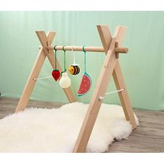 Natural Wooden Baby Gym - Kids Activity Gym Eco Friendly Nursery Furniture