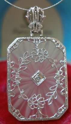 Antique Art Deco 14K gold camphor glass and diamond necklace. Via Diamonds in the Library.