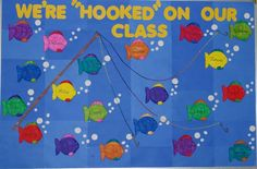 """We're """"Hooked"""" On Our Class Fish Themed Bulletin Board Idea"""