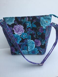 Classic Teal and Purple Flowered and paisley shoulder bag, Ellen's Esplanade Purse by JazzyJoDesigns on Etsy