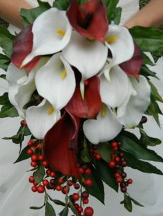 Calla Lily Cascade Bouquet Red White Winter Wedding Burgundy Bridal Bouquet | eBay