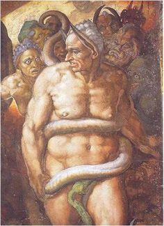 <최후의 심판 중 미노스, 미켈란젤로>   고대의 야만적인 풍습 중 하나는 바로 산 사람을 제물로 바치는 것이었다. 그림은 이제 쓸모 없어진 노인을 신에게 바치는 모습을 나타내었다. 뱀으로 묘사된 죽음의 신은 사람을 칭칭 감고 제물로 받을 준비를 하고 있다.