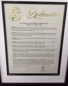 Sacramento, CA - Mayoral proclamation recognizing Diaper Need Awareness Week (Sept. 26 - Oct. 2, 2016) #DiaperNeed www.diaperneed.org