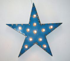 5 Pointed Blue Star Vintage Industrial Metal Sign with by MLevin, $175.00