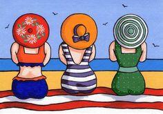 Items similar to Three Ladies Greetings Card on Etsy - <img> Art Fantaisiste, Art Populaire, Whimsical Art, Beach Art, Oeuvre D'art, Rock Art, Painted Rocks, Watercolor Paintings, Owl Paintings