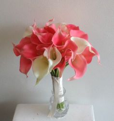 SIMPLE BEAUTIFUL BRIDAL BOUQUET OF 20 HAND TIED PINK CALLA LILLIES | eBay