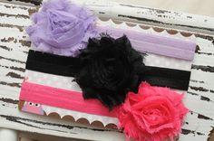 Set of three single shabby flower headbands by DanicasChicBowtique, $16.00