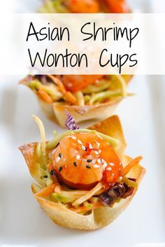 Asian Shrimp Wonton Cups - Crunchy wonton cups filled with broccoli slaw and topped with sweet chili glazed shrimp. Special yet incredibly s...
