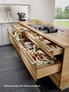 New Kitchen Drawers Ideas – Bricolage Maison Kitchen Cabinet Storage, Kitchen Drawers, Storage Cabinets, Drawer Storage, Kitchen Cabinets, Kitchen Corner, Kitchen Tops, New Kitchen, Kitchen Ideas