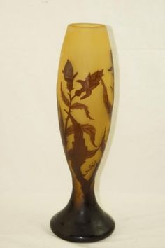 Cameo Glass Vase Blooming Thistle Signed Galle