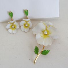 Vintage pansy enamel flower pin or brooch and earrings set white yellow and green with faux pearl