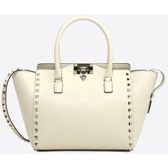 Valentino Garavani Rockstud Small Handbag ($1,970) ❤ liked on Polyvore featuring bags, handbags, ivory, studded handbags, ivory purse, zip purse, hand bags and ivory handbag