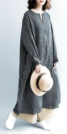 Fashion casual striped linen shirt women long blouse for autumn loose pure color linen maxi dresses women summer casual outfits Trendy Dresses, Nice Dresses, Casual Dresses, Casual Outfits, Casual Shirts, Trendy Fashion, Boho Fashion, Hijab Fashion Casual, Womens Fashion
