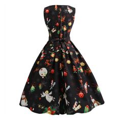 23146fcfcf02 Runningsun Winter Women Christmas Print Swing Party Panel Dress Vintage  Polyester Sleeveless Mini DressesRedXXL * To