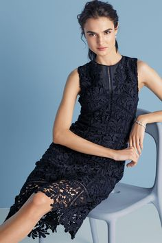Buy Navy Leaf Lace Dress from the Next UK online shop