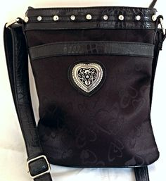 Designer Inspired Black Microfiber Cross Body Handbag w/ Heart Motif | The Wanted Wardrobe Boutique
