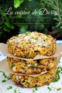 Galettes de boulgour et quinoa au poulet, bleu d'Auvergne et ciboulette - La cuisine de Doria
