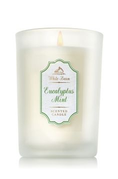 "Eucalyptus Mint - Medium Candle - Bath & Body Works - Made with the highest concentration of fragrance oil, an exclusive blend of vegetable wax and lead-free wicks, our candles burn evenly for an amazing fragrance experience. Our Medium Candle comes in elegant colored glass to add a hint of hue to your d�cor! Candle burns approximately 30-40 hours and measures 3""wide x 4"" tall."