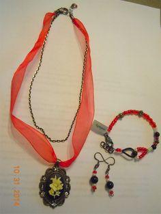 Agnysse - Antique flower brass pendant red ribbon set-1
