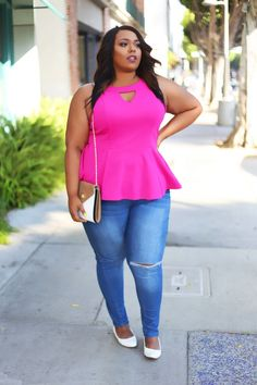 Pretty in Pink|Curves on a Budget - Style Breakdown: Shirt | XL | City Chic Denim | 22 | FTF Clutch | FTF Shoes | Similar