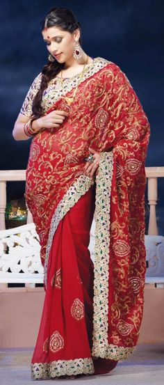 Red Faux Chiffon Saree with Blouse  $153.11   Shop Here: http://www.utsavfashion.com/store/sarees-large.aspx?icode=sxk574