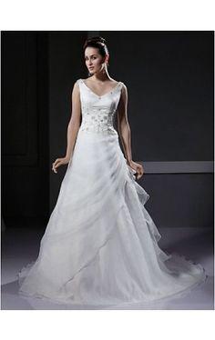 A-line V-neck Court Train Satin Organza Wedding Dress