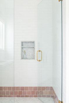 The McGee Home: Wren's Room Photo Tour - Studio McGee Studio Mcgee, Stanton Carpet, Pink Tiles, Tile Layout, Tile Projects, Statement Wall, Custom Cushions, Bathroom Inspiration, Bathroom Inspo
