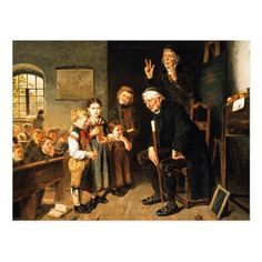 "Teacher Appreciation Day / Teacher's Week / Thank you Teacher / Graduation / Retirement Fine Art Postcards. ""School Examination"", Painting by Friedrich Peter Hiddemann, circa 1860. Matching cards, postage stamps and other products available in the Business / Occupation Specific Category of  the oldandclassic store at zazzle.com"