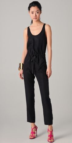 f1298f86295 Rebecca Taylor Be Back Jumpsuit with Leather Drawstring thestylecure.com  Stylish Girl
