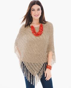 """Ribbon yarn gives this peekaboo poncho its distinctive texture and fringe benefits.     Length: 25""""-27.5"""".  Cotton and polyester.    Machine wash. Imported."""
