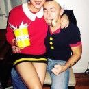 Cheap and Easy Popeye and Olive Oyl Couple Halloween Costume