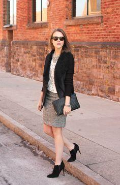 Tweed skirt, graphic tee, black heavy cardigan, black booties