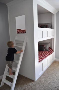 shared bedroom cute built in bunks Bunk Beds Built In, Bunk Beds With Stairs, Cool Bunk Beds, Kids Bunk Beds, Custom Bunk Beds, Bunk Bed Designs, Loft Spaces, Small Spaces, Small Rooms
