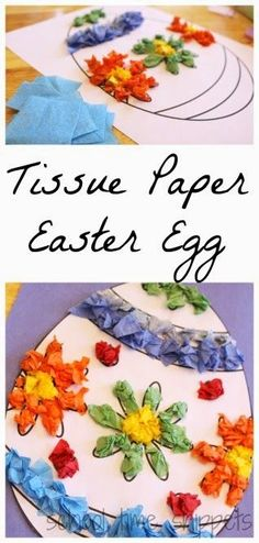 Easter Crafts for Kids: Tissue Paper Easter Egg Craft Easter Projects, Easter Art, Bunny Crafts, Easter Crafts For Kids, Easter Eggs, Easter Ideas, Easter Table, Easter Decor, Kids Diy